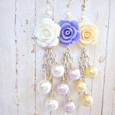 """Zipper Pull, Purse Charm - """"Roses and Pearls"""""""