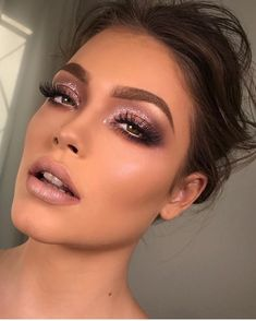 JASON Quick Clean Makeup Remover Party makeup with a glitter smokey eye, makeup inspiration Formal Makeup, Prom Makeup, Bridal Makeup, Bridal Smokey Eye Makeup, Pink Wedding Makeup, Dramatic Wedding Makeup, Uk Makeup, Wedding Smokey Eye, Brown Smokey Eye Makeup