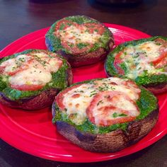 Kale Pesto Stuffed Portobellos with Tomatoes