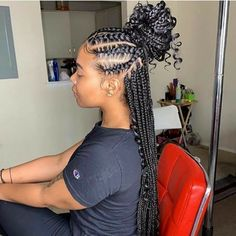 Top 60 All the Rage Looks with Long Box Braids - Hairstyles Trends Box Braids Hairstyles, Quick Braided Hairstyles, Frontal Hairstyles, Braided Hairstyles For Black Women, Braided Ponytail, Hair Updo, Mohawk Ponytail, Braided Mohawk, Hair