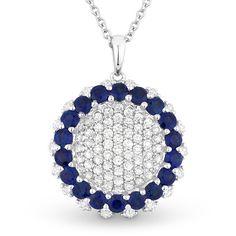 2.09ct Round Brilliant Cut Sapphire & Diamond Cluster Circle Pendant in 18k White Gold w/ 14k Chain Necklace - AlfredAndVincent.com