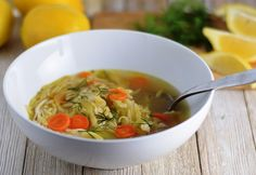 Chicken, Leek & Orzo Soup with Lemon