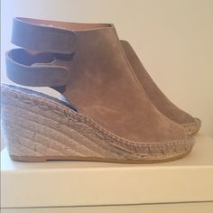 Betty Muller Download wedge NEW never worn size 7 Suede wedge/ Velcro strap/ stone color. NEW. Betty muller Shoes Wedges