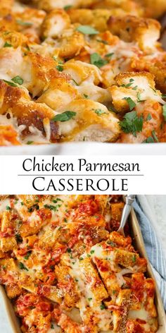 This Chicken Parmesan Casserole recipe has layers of pasta, marinara sauce, cheese, and breaded chicken. It's easy to make ahead of time and bake during a busy weeknight! #chickenbreastrecipes #pastadinner #makeaheadmeals #recipeswithchicken Pasta Marinara, Marinara Sauce, Chicken Marinara, Easy Casserole Recipes, Crockpot Recipes, Pasta Bake Recipes, Casserole Ideas, Casserole Dishes, Healthy Dinner Recipes