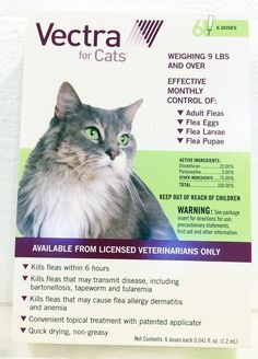 Vectra 6 Pack Green For Large Cats Over 9 Pounds USA Version EPA Registered (Controls Fleas In All Stages) >>> Click on the image for additional details. (This is an affiliate link and I receive a commission for the sales)