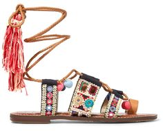 Summer calls for a hippy revival, with natural leather sandals covered in pompoms, beads and charms. Go folk, with the ultimate trend of the season.