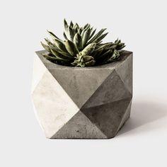 Large Concrete Geometric Planter 'PENTOID' for Succulent, Cactus + Bonsai Plant - pintcosi Large Concrete Planters, Concrete Pots, Concrete Projects, Concrete Design, Bonsai Plants, Potted Plants, Succulent Centerpieces, Centerpiece Ideas, Beton Diy