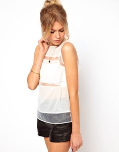 Shell Top with Sheer Panels