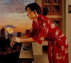 Chen Li (b,1975)- Woman Standing w Flower, on Balcony
