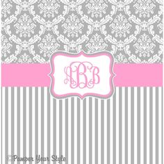 Damask and Stripe Gray and Pink Shower Curtain Any Color Band... ($76) ❤ liked on Polyvore featuring home, bed & bath, bath, shower curtains, bathroom, black, home & living, shower curtains & rings, personalized shower curtains and monogrammed shower curtains
