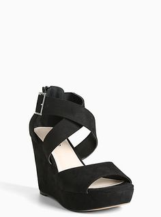 c3043c1e5 Faux Suede Strappy Platform Wedges (Wide Width)Faux Suede Strappy Platform  Wedges (Wide
