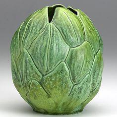 "LOUIS COMFORT TIFFANY Rare ceramic Artichoke vase. 6"" x 5""."