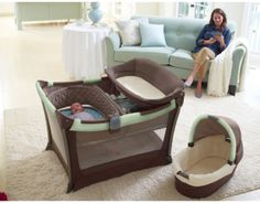 "This might be the most awesome pack-and-play set ever... Has a bassinet included, MP3 speaker system (hello iPod with ""Baroque for Baby""!), and two-speed vibrations to help soothe baby to sleep. I vote YES for this!!!"