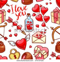 Valentine's Day seamless background. Heart, gifts, sweets. hand-drawn illustration