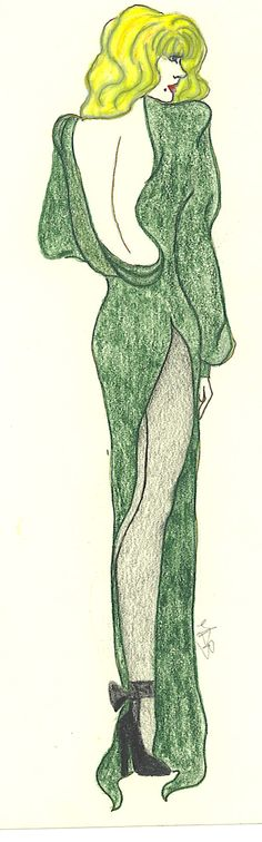 prisma colour and pencil  Green Evening Gown by Gothicapped