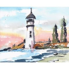 Original Watercolor Painting Watercolor and Ink Lighthouse Landscape... ($46) ❤ liked on Polyvore featuring home, home decor, wall art, landscape wall art, watercolour painting, watercolor landscape paintings, lighthouse watercolor paintings and ocean home decor
