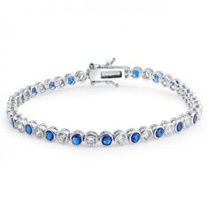 Bling Jewelry CZ Round Blue Sapphire Color Tennis Bracelet 925 Sterling Silver
