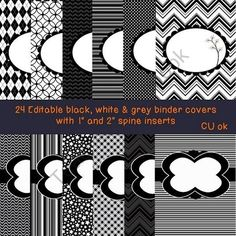 24 Editable Black white & Grey Binder Covers with spine labels product from Mrs-Macs on TeachersNotebook.com