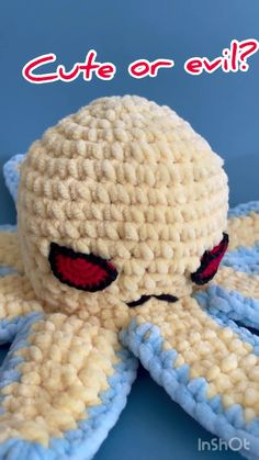 """This cute, quick and simple crochet pattern to create your own reversible octopus 2 in 1! The Octopus can be easily popped between the two different colours and is very fun to play with. SIZE: when using similar materials, the Octopus will be: ~ 13"""" diameter with tentacles ~ 5"""" diameter of the body ~ 5"""" high SKILL LEVEL: Beginner Octopus Crochet Pattern, Crochet Toys Patterns, Stuffed Toys Patterns, Crochet Ideas, Crochet Gifts, Crochet Hooks, Octopus Plush, Simple Crochet, Pregnancy Gifts"""