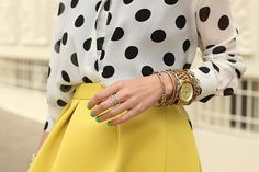 Polka dots and bright colors.