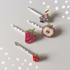 Brick Stitch barrettes