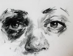 Charcoal sketch of a friend's eye after a seizure.