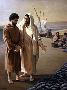 Peter and Jesus by Galilee