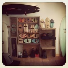 Christine Brailsford installation at Surfy Surf surf shop. for de bodysurf Surf Gear, Beach Cafe, Surf Shack, Concept Board, Shop Interiors, Surfs Up, Surf Girls, Wood Colors, Surfboard