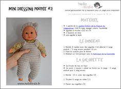 hello birdie: {TUTO} Mini dressing Baby Doll Clothes, Crochet Doll Clothes, Doll Clothes Patterns, Clothing Patterns, Baby Dolls, Mini Dressing, Thing 1, Diy Toys, Winnie The Pooh