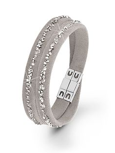 Armband aus Leder mit Swarovski Kristallen von s.Oliver Jewel. #s.Oliver #Jewel #Schmuck #bracelet #Armband #Leder #Leather