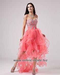 Vokuhila Kleid Abendkleid Vorne Kurz Hinten Lang in Lachs von www.online-mode.biz
