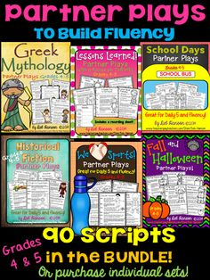 "Partner Plays for Grades 4 and 5 to improve reading fluency!  If you implement Daily 5, check these out!  They are perfect ""Read to Someone"" activities!   Choose from over 20 sets of five scripts... or purchase the bundle!  Kids love them!"