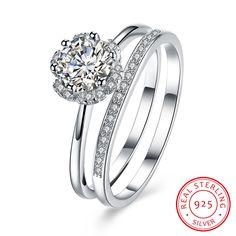925 Sterling Silver Flower Zircon Double Rings