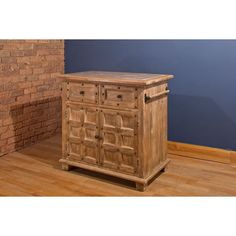 """Amazon.com - Hillsdale Furniture 5731-895 Millstone 38"""" Wide Kitchen Island with 2 Doors 2 Drawers Light Grey Marble Top and Mango Wood Construction in Antique Beige - Serving Carts"""
