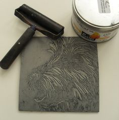 Dog Linocut plate and tools before printing by Rowanne Anderson http://www.rowanneanderson.com/ Tags: Linocut, Cut, Print, Linoleum, Lino, Carving, Block, Woodcut, Helen Elstone, Animals, Dog,