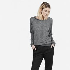i have this sweatshirt and love it- some style to a simple design- heather type gray is awesome