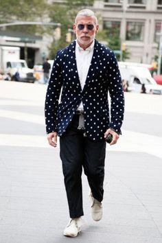 Nick Wooster Navy Polka Dot Jacket | SOLETOPIA