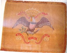 """This is the regimental standard of the 1st U.S. Volunteer Cavalry, better known as the """"Rough Riders."""" The flag was used at San Juan Hill. It is based on the Model 1887 Regular Army cavalry flag, and was hand paimted by Horstman Brothers of Philadelphia."""