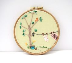 Hand Embroidery Hoop Art - Yellow - Pretty Picture ready for display - 5 x 5 Inch - Been Swimming by mirrymirry