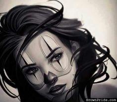 Girl clown Catrina Tattoo, Clown Tattoo, I Tattoo, Chicano Art Tattoos, Chicano Drawings, Art Drawings, Tattoo Studio, Cholo Art, Lowrider Art