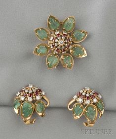 18kt Gold, Carved Emerald, Ruby, and Diamond Brooch, and Earclips, France | Sale Number 2610B, Lot Number 455 | Skinner Auctioneers