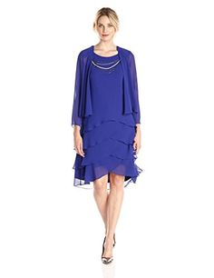 SL Fashions Womens 34 Sleeve Necklace Trim Tiered Skirt Jacket Dress Iris 8 ** Click image to review more details.