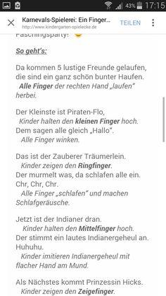 Fasching Fingerspiel Funf Finger Wollen Nun Beizeiten Die