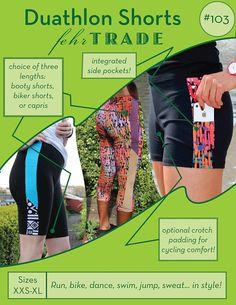 Duathlon Shorts - PDF sewing pattern for exercise wear - Booty Shorts, Biker shorts, or Capri leggings with hidden pockets!