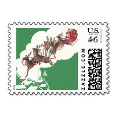 Vintage Christmas, Santa Claus is Coming to Town Stamps