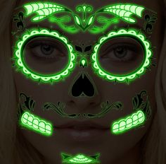 Sugar Skull Glow in the Dark Temporary Face Tattoo