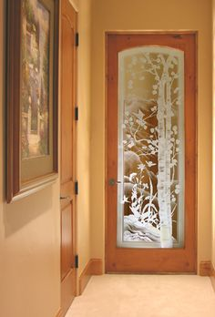 Crystal Glass Studio - Architectural Etched Glass for windows, entry doors, shower doors Etched Glass Door, Frosted Glass Door, Glass Front Door, Sliding Glass Door, Glass Etching, Muebles Living, Glass Partition, Aspen Trees, Stained Glass Designs