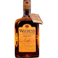 Wathen's Single Barrel Kentucky Straight Bourbon Aged under the intense Kentucky sun, this single barrel is the product of 225 years of family experience. Good Whiskey, Cigars And Whiskey, Scotch Whiskey, Bourbon Whiskey, Whiskey Bottle, Whisky Bar, Beer Bottles, Irish Whiskey, Rum