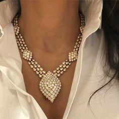 A crisp white shirt and diamonds.....yup, that's my favorite look! Find this vintage #VanCleefandArpels necklace at www.VintageSignedJewels.com
