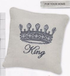 KING - cross stitch, needlepoint,embroidery,pillow,french linen,cushion, home decor,cross stitch pattern, wall art,diy ,Anette Eriksson
